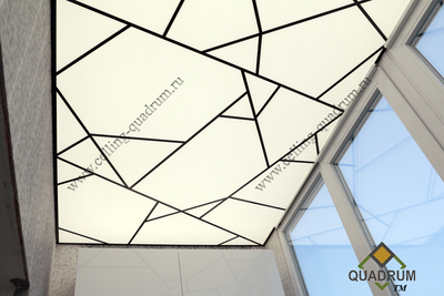 ceiling of Plexiglas with complex frame